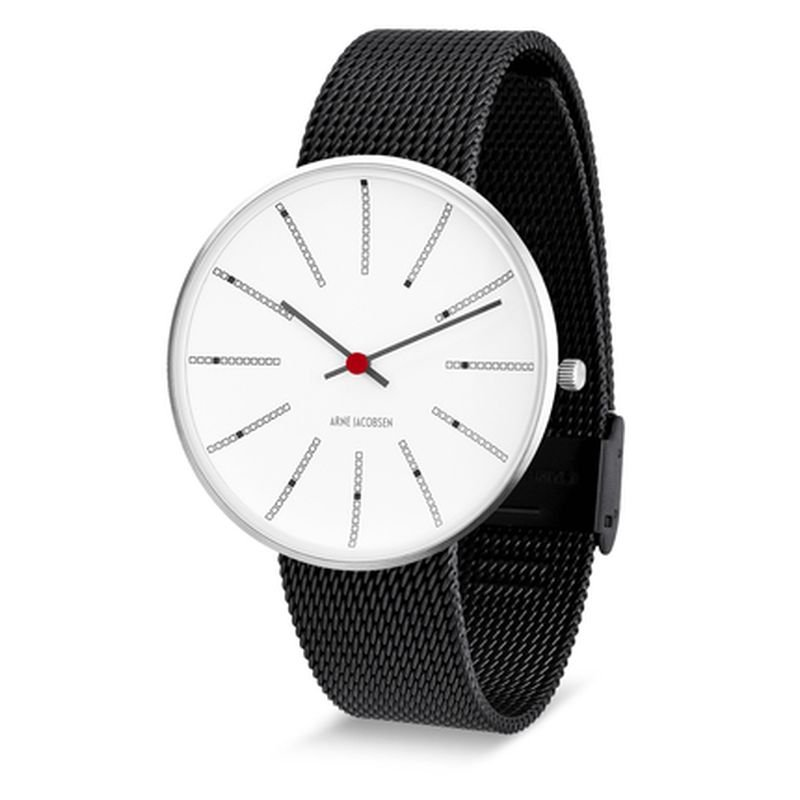 Armbandsur Bankers Vit/matt svart 40 mm Arne Jacobsen Clocks