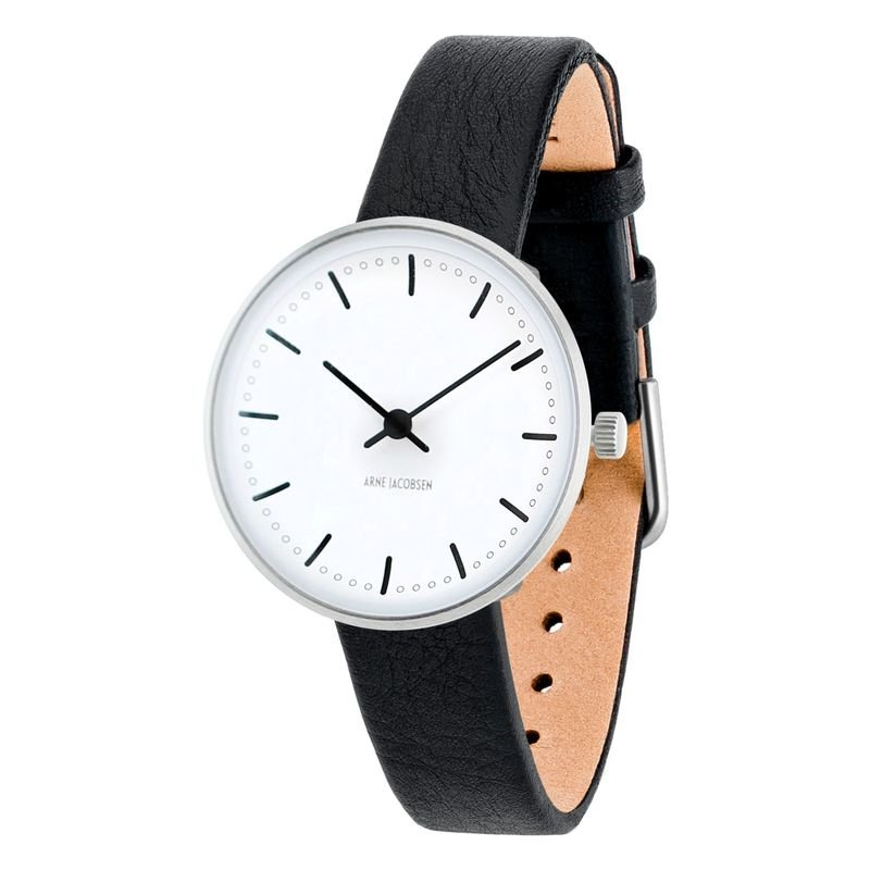 Armbandsur City Hall - vit/svart 30 mm Arne Jacobsen Clocks