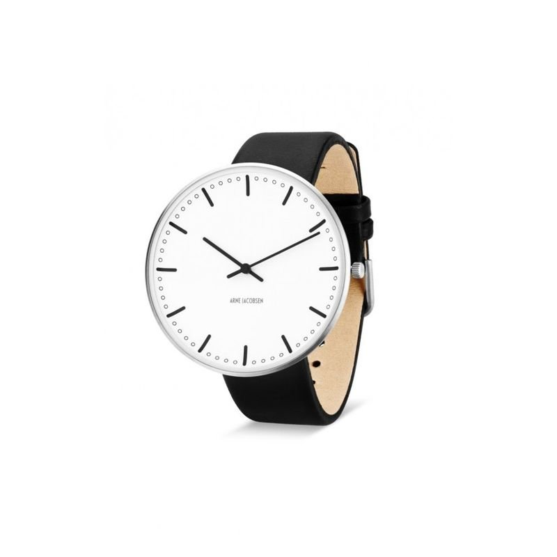 Armbandsur City Hall - vit/svart 46 mm Vit/svart