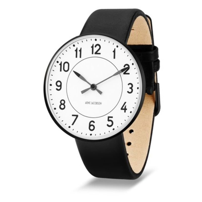 Arne Jacobsen Clocks Armbandsur Station Vit/svart/svart 40 mm Arne Jacobsen Clocks