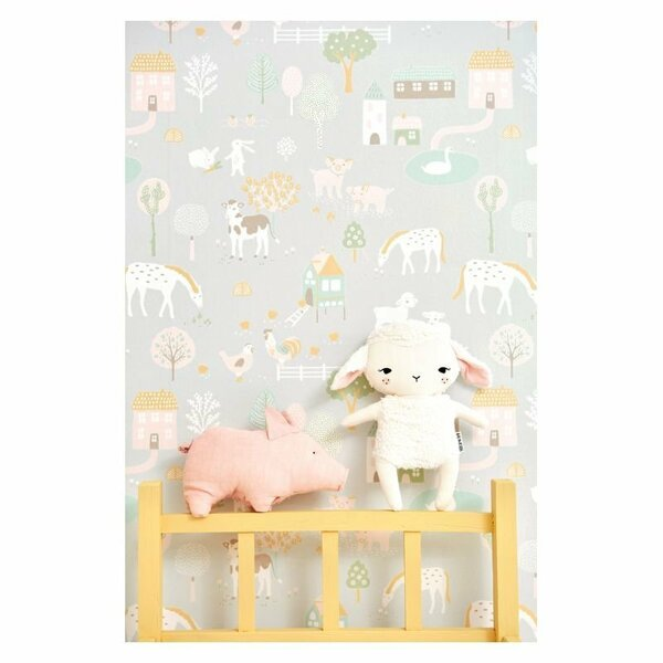 Majvillan Tapet My Farm - Soft grey