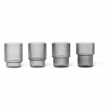 Ripple Små glas Smoked grey 4-pack